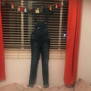 Skinny jean overalls